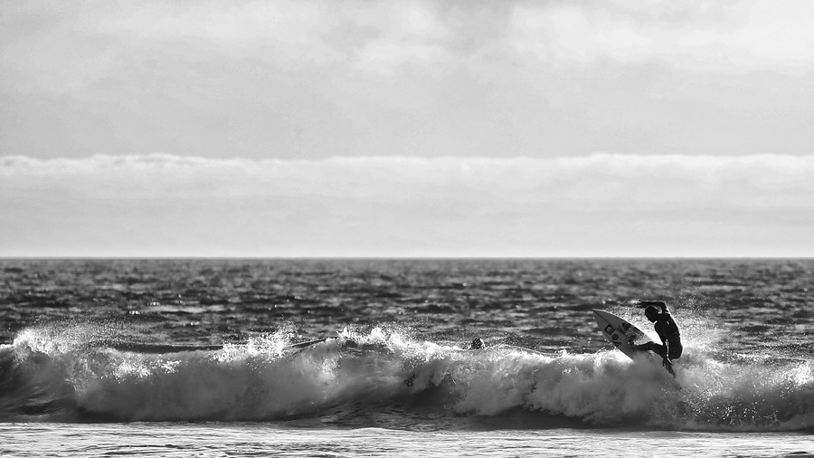 Surfing, Huntington Beach, California, Black and White, Mark Derry